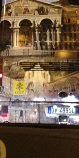Close up of ORP Sticker on Bus (Opera Romana Pellegrinaggi)
